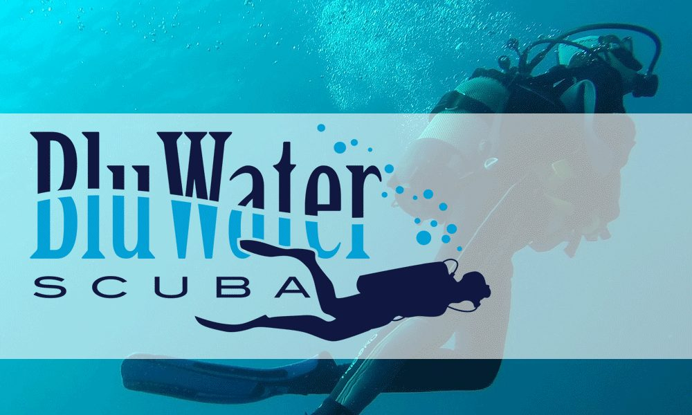 Blu Water Scuba header with logo