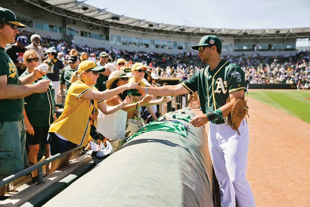Oakland As player with fans