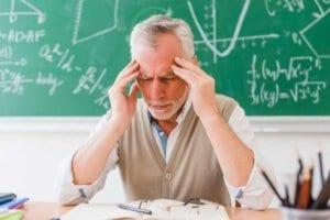 older male teacher stressed