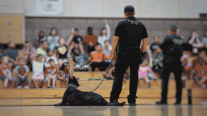 Mesa PD officers at school assembly