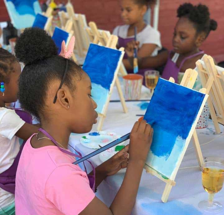 Faith Art Studio group young girls painting