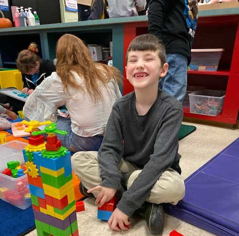 Autism Center at Misericordia - boy playing with blocks